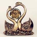 2 Swans Statue Resin Tabletop Clock