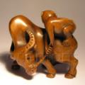 Boxwood Netsuke Monkey on Bull