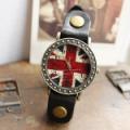 British Flag Bracelet leather Rivet Stud Watch