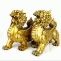Auspicious Pair of Feng Shui Brass Pi Yao