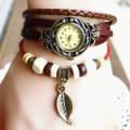 Leaf Bracelet leather Rivet Stud Watch