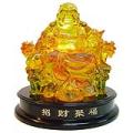 Liuli Laughing Buddha Sitting on Dragon Chair