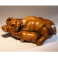 Wood Netsuke Bull